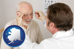 alaska map icon and an optician fitting eyeglasses on an elderly patient