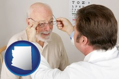 arizona map icon and an optician fitting eyeglasses on an elderly patient