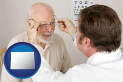 colorado map icon and an optician fitting eyeglasses on an elderly patient