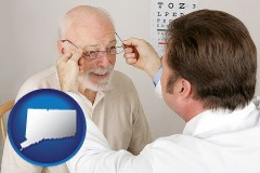 connecticut map icon and an optician fitting eyeglasses on an elderly patient