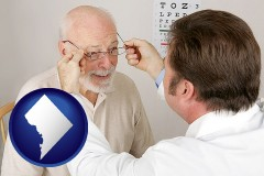 washington-dc map icon and an optician fitting eyeglasses on an elderly patient