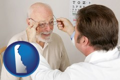 delaware map icon and an optician fitting eyeglasses on an elderly patient
