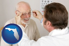 florida map icon and an optician fitting eyeglasses on an elderly patient