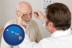 hawaii map icon and an optician fitting eyeglasses on an elderly patient