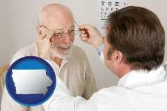 iowa map icon and an optician fitting eyeglasses on an elderly patient