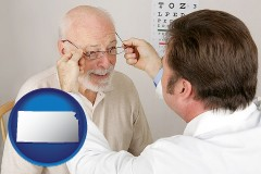 kansas map icon and an optician fitting eyeglasses on an elderly patient