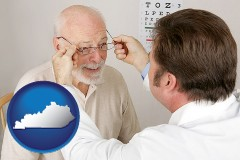 kentucky map icon and an optician fitting eyeglasses on an elderly patient