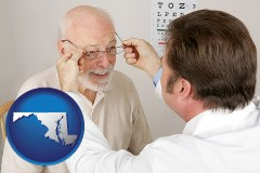 maryland map icon and an optician fitting eyeglasses on an elderly patient