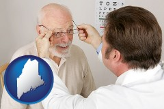 maine map icon and an optician fitting eyeglasses on an elderly patient