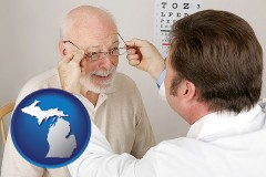 michigan map icon and an optician fitting eyeglasses on an elderly patient