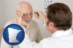 minnesota map icon and an optician fitting eyeglasses on an elderly patient