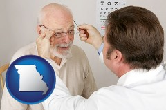 missouri map icon and an optician fitting eyeglasses on an elderly patient