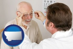 montana map icon and an optician fitting eyeglasses on an elderly patient