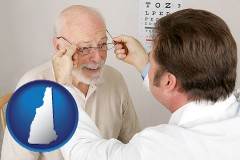new-hampshire map icon and an optician fitting eyeglasses on an elderly patient