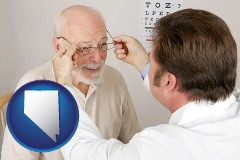 nevada map icon and an optician fitting eyeglasses on an elderly patient