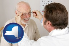 new-york map icon and an optician fitting eyeglasses on an elderly patient