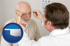 oklahoma map icon and an optician fitting eyeglasses on an elderly patient