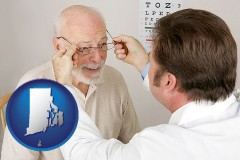 rhode-island map icon and an optician fitting eyeglasses on an elderly patient