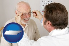 tennessee map icon and an optician fitting eyeglasses on an elderly patient