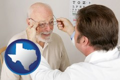 texas map icon and an optician fitting eyeglasses on an elderly patient