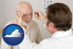 virginia map icon and an optician fitting eyeglasses on an elderly patient