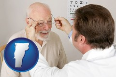 vermont map icon and an optician fitting eyeglasses on an elderly patient