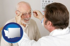 washington map icon and an optician fitting eyeglasses on an elderly patient