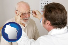 wisconsin map icon and an optician fitting eyeglasses on an elderly patient