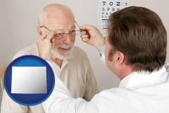wyoming map icon and an optician fitting eyeglasses on an elderly patient