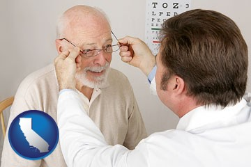 an optician fitting eyeglasses on an elderly patient - with California icon