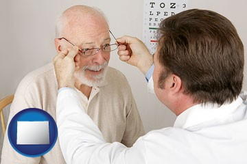an optician fitting eyeglasses on an elderly patient - with Colorado icon