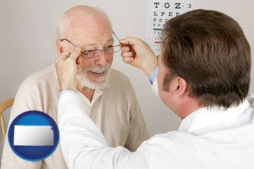 an optician fitting eyeglasses on an elderly patient - with Kansas icon