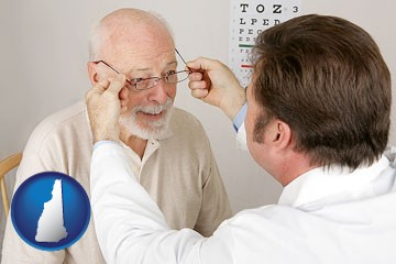 an optician fitting eyeglasses on an elderly patient - with New Hampshire icon
