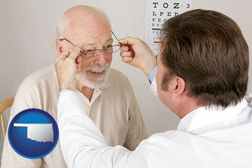 an optician fitting eyeglasses on an elderly patient - with Oklahoma icon